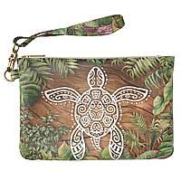 Женская косметичка, дорожная сумочка (Экзотическая черепаха) ручной роботы из эко-кожи