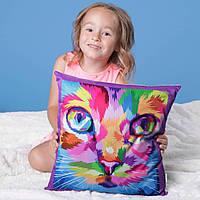 Декоративная подушка Littleowl кот цветной 40х40 см