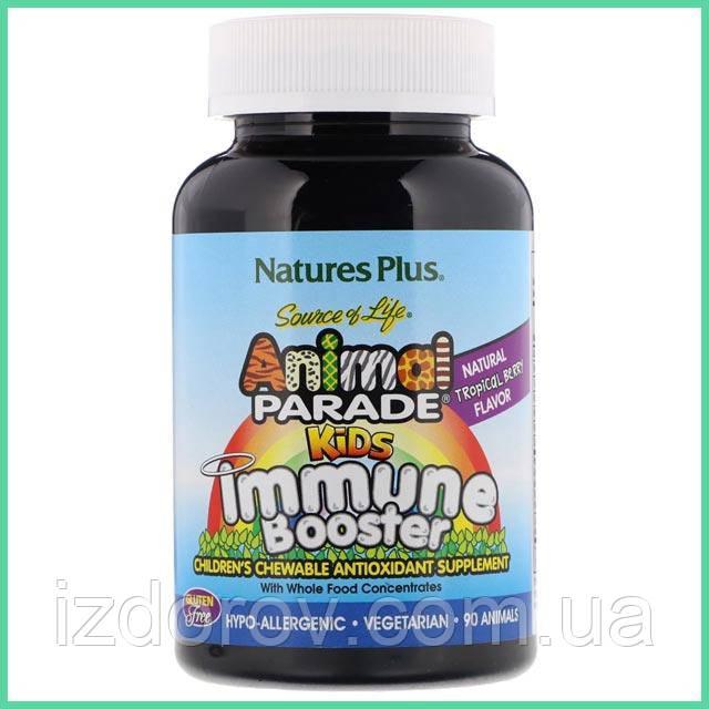 Nature's Plus, Animal Parade, Immune Booster, Добавка для укрепления иммунитета детям, 90 конфет. США