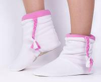 Тапочки 'Косички' флисовые (белые с розовыми косичками) (187339)