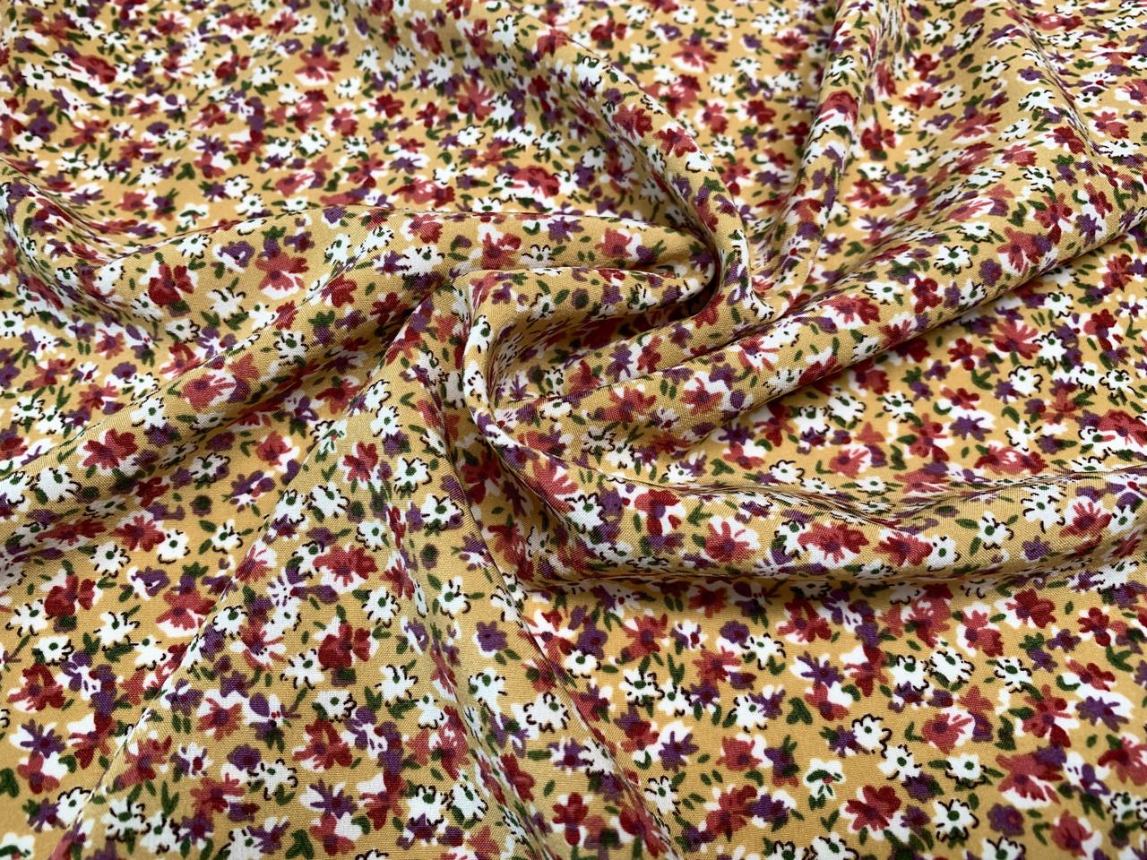 Ткань Французская вискоза софт мелкие цветочки, горчица
