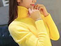 Женский желтый свитер джемпер с горлом, мягкая теплая водолазка кофта гольф