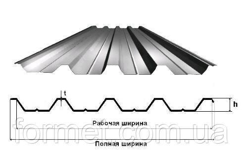Профнастил 57  0,70*1040/980 (0,2м - 9м) цинк Украина
