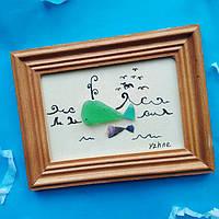 """Декоративное настенное панно - картина """"Кит"""" в технике декупаж из эко-материалов в морском стиле.Ручная работа"""