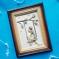 """Декоративное настенное  панно """"Влюбленные"""" в технике декупаж из эко-материалов в морском стиле. Ручная работы."""