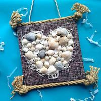 Декоративное настенное  панно Сердце Моря в технике декупаж из эко-материалов в морском стиле.Ручная работа