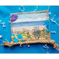 Декоративное настенное  панно картина Морской пейзаж в технике декупаж из эко-материалов в морском стиле.