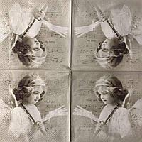 "Салфетка декупажная 33x33 см 30 ""Винтаж ретро Девочка Ангел Романтика Старое фото"" Серветка для декупажу"