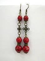 Серьги с Кораллом, натуральный камень, бронза, цвет красный, тм Satori \ S - 0105