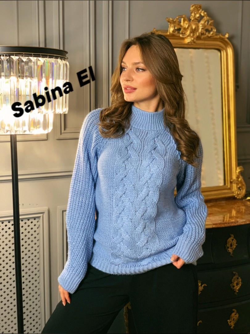 Женский вязаный свитер с шерстью и люрексом, узоры на кофте tez704780