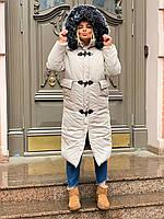 Женское теплое зимнее пальто с меховой опушкой и накладными карманами tez301219, фото 1