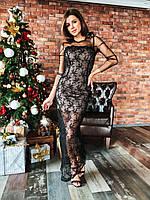 Кружевное длинное платье в пол по фигуре с рукавами из сетки tez1403667, фото 1