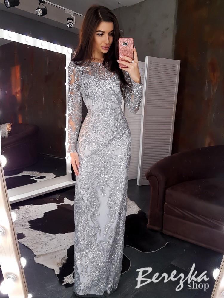 Длинное платье по фигуре из сетки с блестками и длинным рукавом tez6603672E