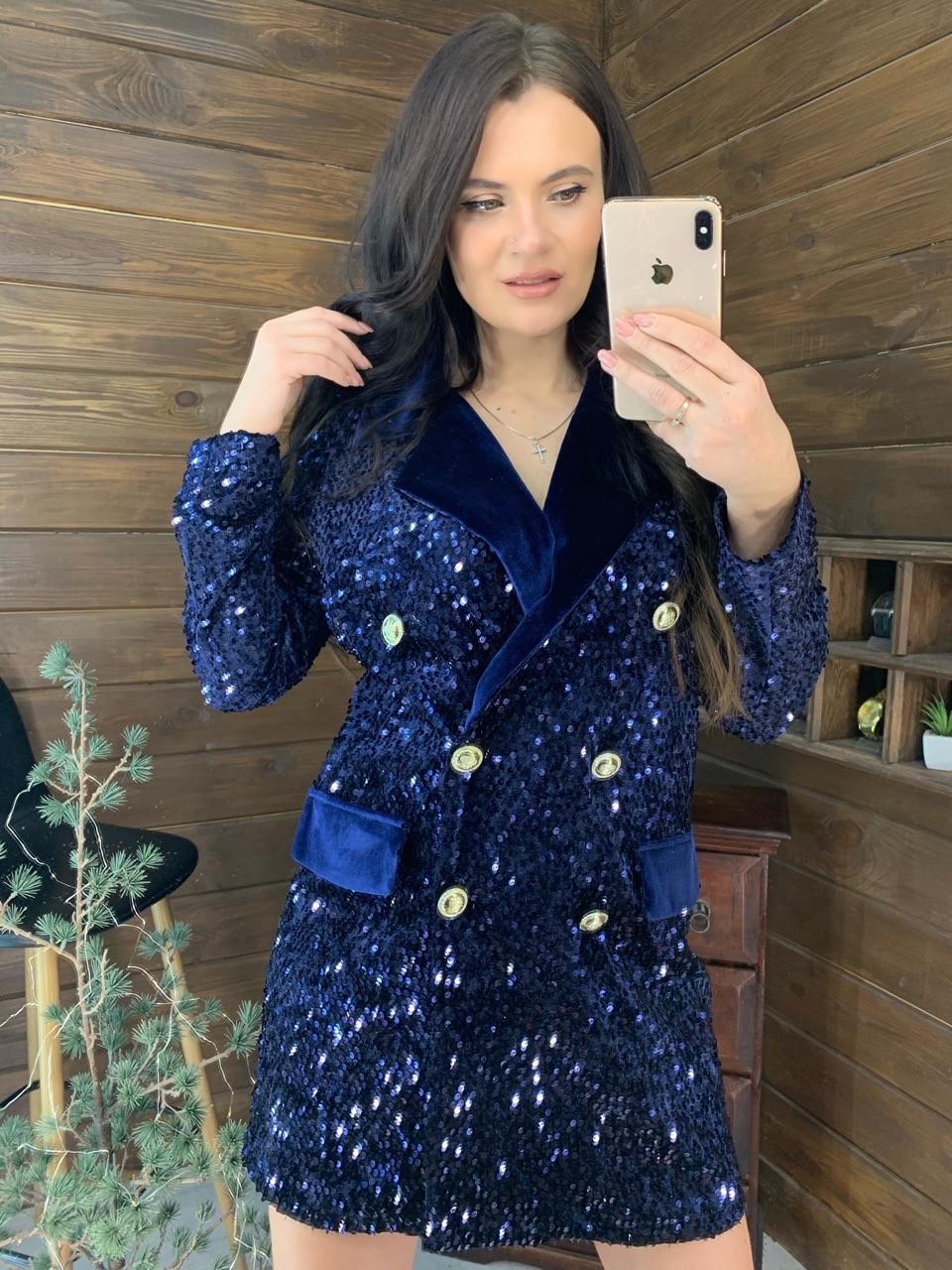Платье - пиджак из пайетки на бархате с длинным рукавом tez5803676