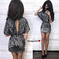 Короткое платье из пайетки на подкладе с коротким рукавом и вырезом на спине tez903680, фото 1