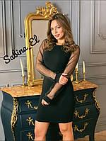 Платье по фигуре с длинным рукавом из сетки tez703684, фото 1