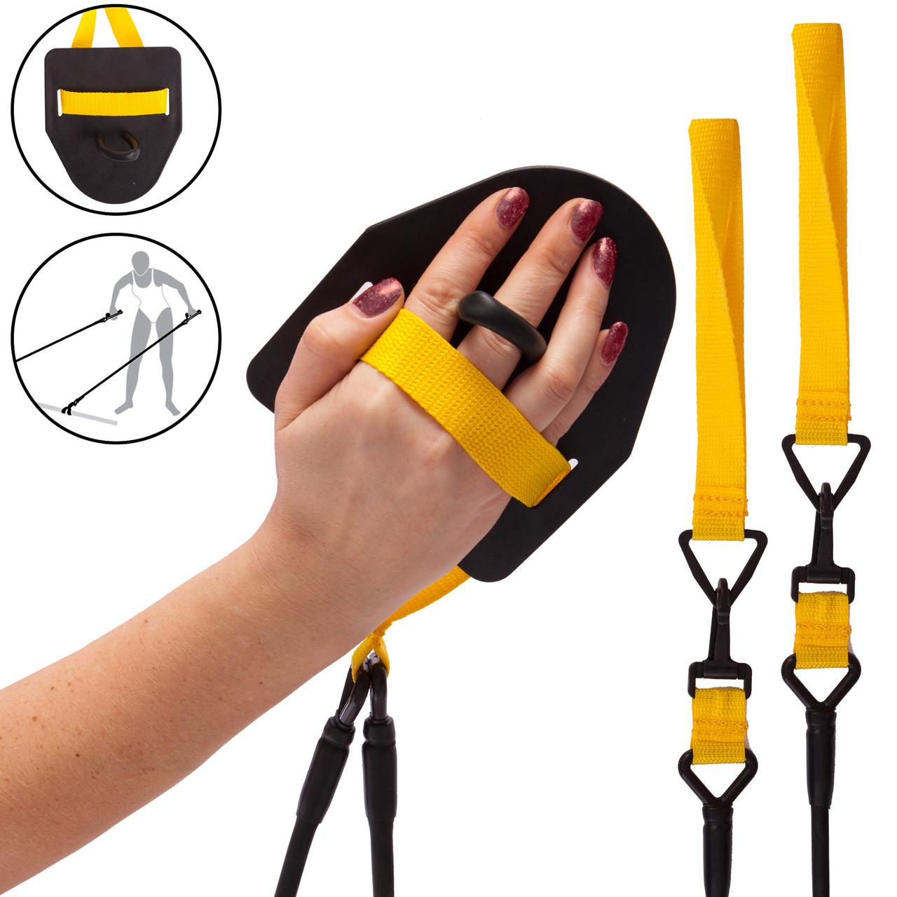 Тренировочная система с лопатками для тренировки гребка BREASTSTROKE SWIMMING EXERCISER (PL,резина,пластик,нагрузка LIGHT)