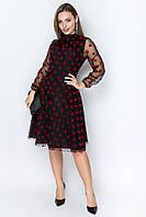 Платье в горошек из сетки с пышной юбкой и длинным рукавом tez6403687