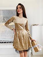 Велюровое платье с расклешенной юбкой и длинным рукавом tez7303690, фото 1