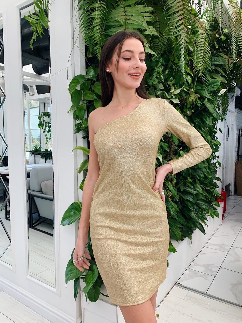 Платье из трикотажа с напылением с одним рукавом tez7303692