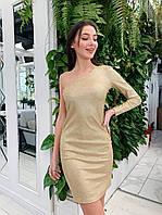 Платье из трикотажа с напылением с одним рукавом tez7303692, фото 1