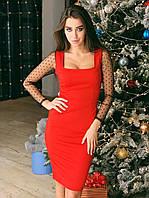 Платье по фигуре с квадратным вырезом и рукавами из сетки tez7303697, фото 1