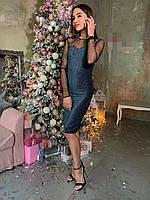 Платье по фигуре из люрекса длиной миди с рукавами из сетки tez6303700, фото 1