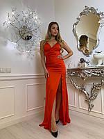 Шелковое длинное платье с разрезом на ноге и вырезом декольте tez6303703, фото 1