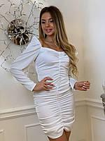 Шелковое короткое платье с открытыми плечами и длинным рукавом tez6303704, фото 1