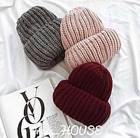 Женская теплая шапка крупной вязки с подворотом tez507227, фото 1