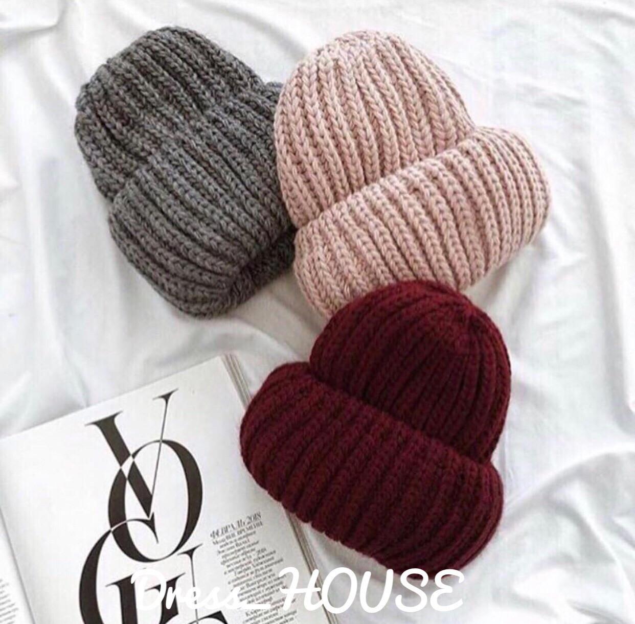 Женская теплая шапка крупной вязки с подворотом tez507227
