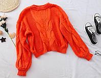 Женский укороченный свитер с узорной крупной вязкой tez6804786