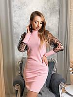 Платье по фигуре из трикотажа рибана с рукавами из сетки в горошек tez4103708, фото 1