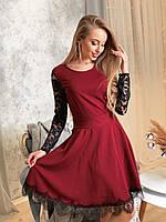 Платье с расклешенной юбкой и гипюровой спинкой tez4103709, фото 1