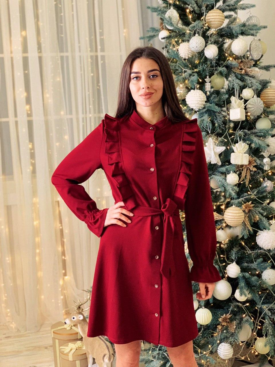 Платье - рубашка с оборками и длинным рукавом tez4103711