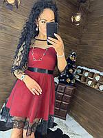 Платье с расклешенной юбкой и отделкой и кружева и сетки tez4403713, фото 1