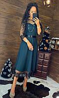 Платье миди с расклешенной юбкой и отделкой из кружева и рукавами из сетки tez4403715, фото 1