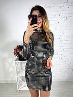 Платье по фигуре из ткани голограмма с длинным рукавом tez6503721