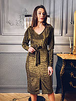 Платье миди из люрекса с вырезом декольте и поясом tez6503722, фото 1
