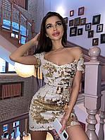 Платье из пайетки с фигурным вырезом горловины и спущенными плечами tez7103730, фото 1