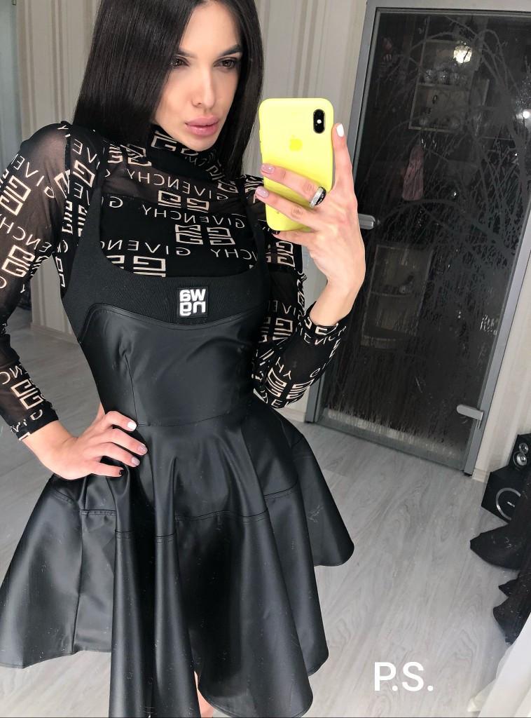Женский черный кожаный сарафан на бретелях с расклешенной юбкой tez7603731