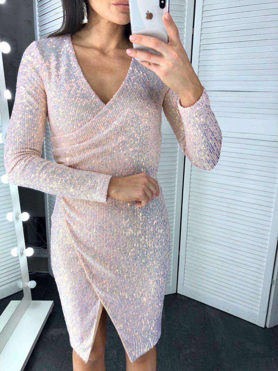 Платье на запах из пайетки с длинным рукавом и длиной до колен tez6003738