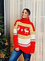 Теплый женский вязаный свитер с узорами и высокой горловиной tez304792