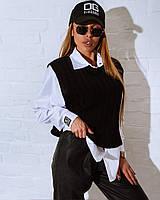 Женская коттоновая рубашка и вязаный жилет комплеком tez1813321, фото 1