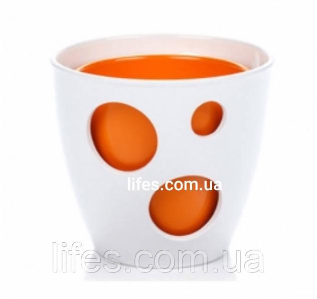 Вазон керамический белый + оранж