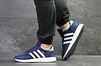 Мужские кроссовки Adidas Iniki,замшевые,синие с белым