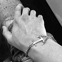 Мужской серебряный браслет GS , фото 1