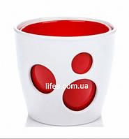 Вазон керамический белый + красный
