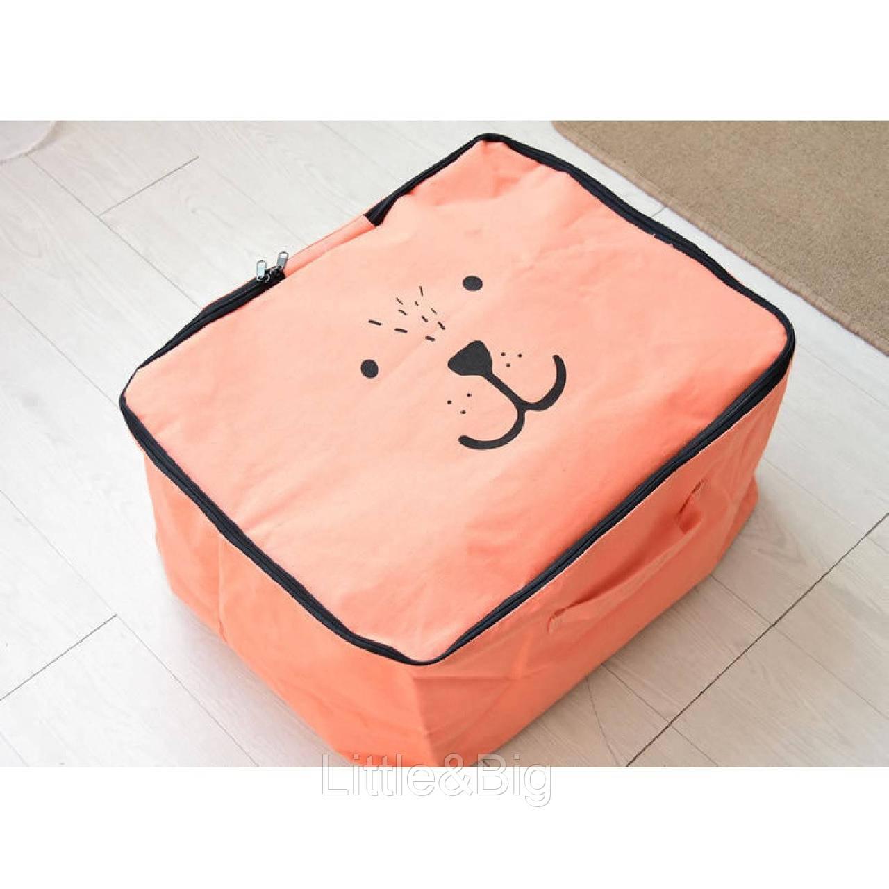 Корзина для игрушек с крышкой, оранжевая, Мишка