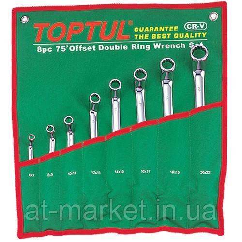 Набор накидных ключей 6-22мм (угол 45°)  8ед.    TOPTUL GPAH0804